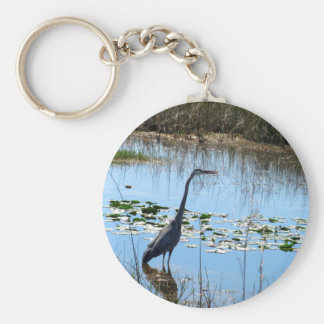 Blue Heron in the Glades Basic Round Button Key Ring