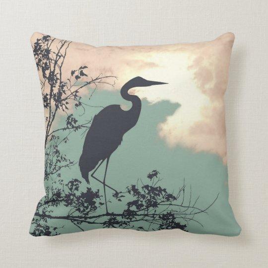 Blue Heron nursery sunset birds watching Throw Pillow
