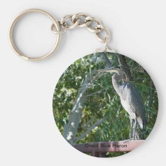 Blue Heron on bridge, Great Blue Heron Basic Round Button Key Ring