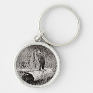Blue Heron Photograph - Black and White Silver-Colored Round Key Ring