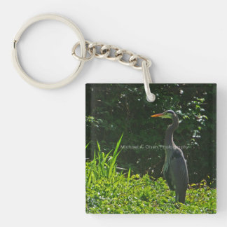 blue heron Single-Sided square acrylic key ring