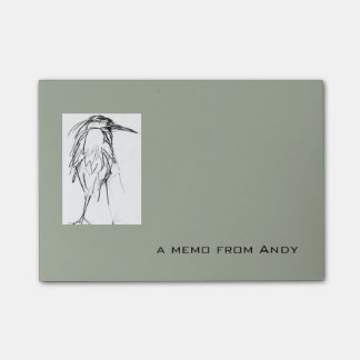 Blue Heron Sketch and text memo template Post-it® Notes