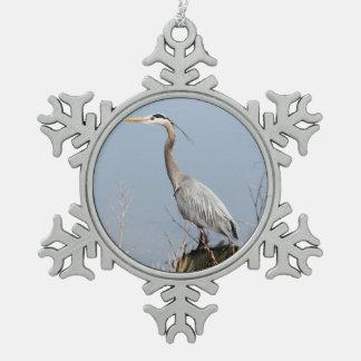 Blue Heron Snowflake Pewter Christmas Ornament