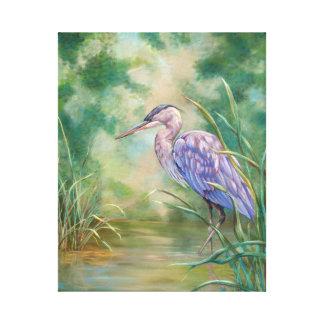 Blue Heron Standing in Water Painting Canvas Print