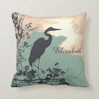 Blue Heron sunset birds watching Cushion