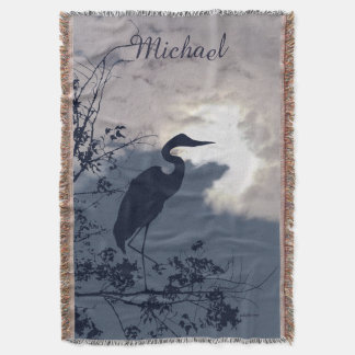 Blue Heron sunset birds watching Throw Blanket