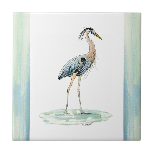 Blue Heron watercolor Small Square Tile