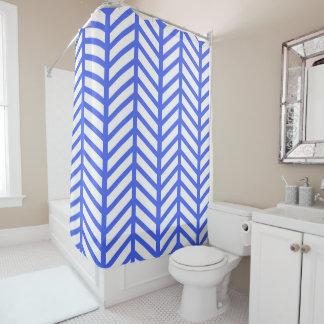 Blue herringbone shower curtain