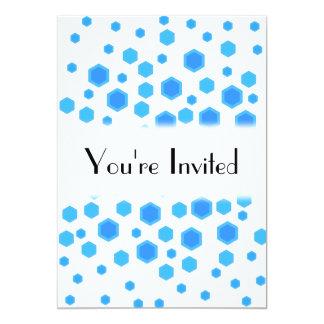 Blue Hexagons Pattern. 13 Cm X 18 Cm Invitation Card