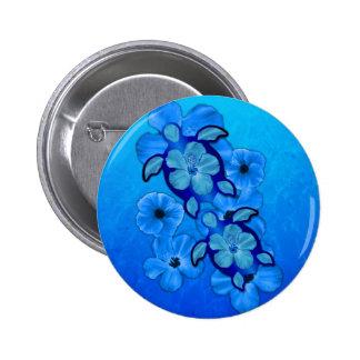 Blue Hibiscus And Honu Turtles 6 Cm Round Badge