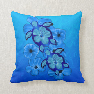 Blue Hibiscus And Honu Turtles Cushion