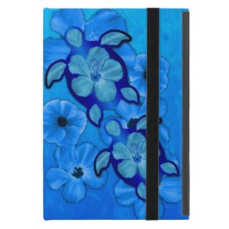 Blue Hibiscus And Honu Turtles iPad Mini Covers