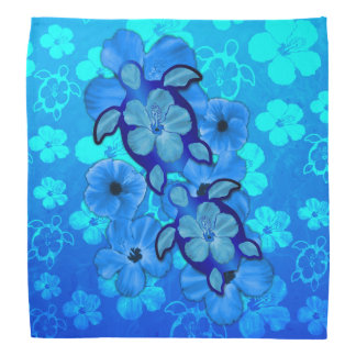 Blue Hibiscus And Honu Turtles Kerchiefs