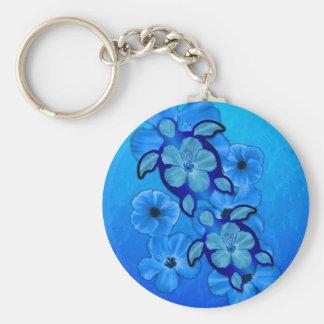 Blue Hibiscus And Honu Turtles Key Ring