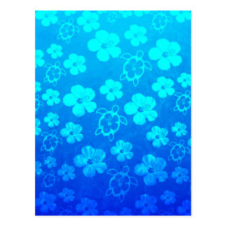 Blue Hibiscus And Honu Turtles Postcard
