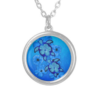 Blue Hibiscus And Honu Turtles Silver Plated Necklace