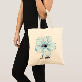 Blue Hibiscus Art Tropical Bride's Tote Bag