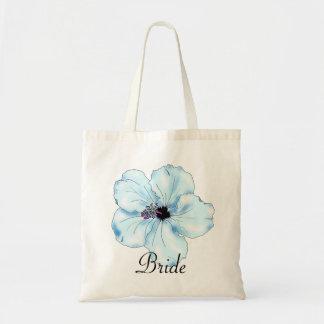 Blue Hibiscus Art Tropical Bride's Tote Bag