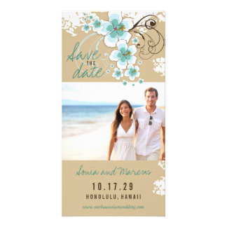 Blue Hibiscus Beach Wedding Save The Date Card Personalised Photo Card