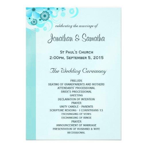 Blue Hibiscus Floral Wedding Program Templates Custom Invitation