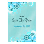 Blue Hibiscus Floral Wedding Save The Date Cards Pack Of Chubby Business Cards