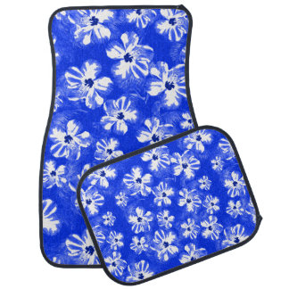 Blue Hibiscus Flowers Car Mat