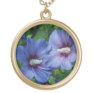 Blue Hibiscus Flowers Gold Finish Round Necklace