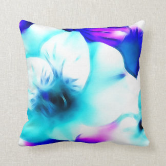 Blue Hibiscus Fractal Art Cushion