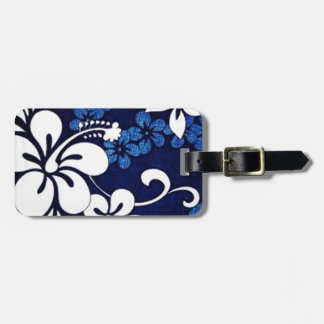 blue hibiscus Hawaiian pattern Luggage Tag