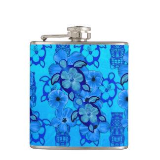 Blue Hibiscus Honu Turtles Tiki Hip Flask