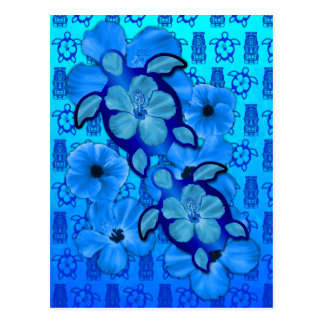 Blue Hibiscus Honu Turtles Tiki Postcard