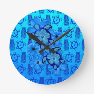 Blue Hibiscus Honu Turtles Tiki Round Clock