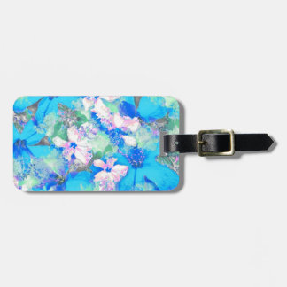 Blue Hibiscus Jungle Luggage Tag