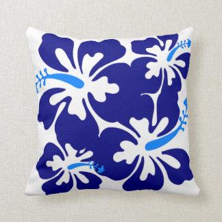 Blue Hibiscus Pattern Cushion