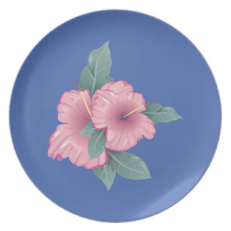 Blue Hibiscus Plate