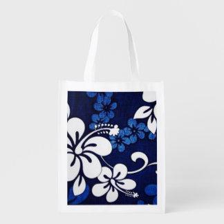 blue hibiscus reusable grocery bag