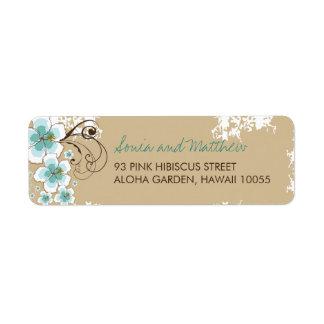 Blue Hibiscus Tropical Beach Wedding Address Label