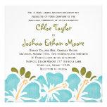Blue Hibiscus Wedding Invitations
