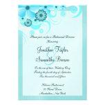 Blue Hibiscus Wedding Rehearsal Dinner Invites