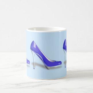 BLUE HIGH HEEL SHOES DESIGN Classic White Mug