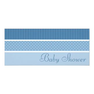 Blue Hip Stripes and Dots Baby Shower Invitations