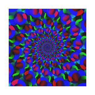 Blue Hippie Spiral Fractal Art Pattern Gallery Wrapped Canvas