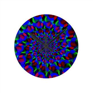 Blue Hippie Spiral Fractal Art Pattern Wallclock