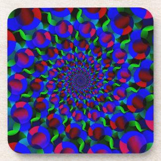 Blue Hippie Spiral Fractal Art Pattern Coasters