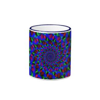 Blue Hippie Spiral Fractal Art Pattern Mugs