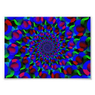 Blue Hippie Spiral Fractal Art Pattern Photo