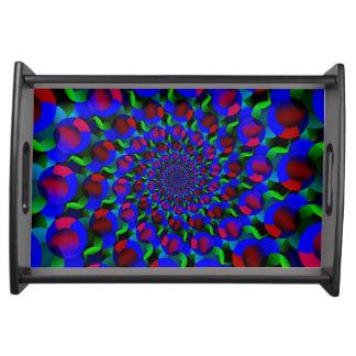 Blue Hippie Spiral Fractal Art Pattern Service Trays