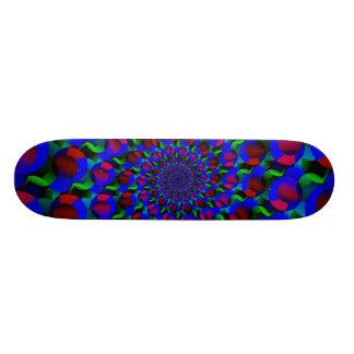 Blue Hippie Spiral Fractal Art Pattern Skate Boards