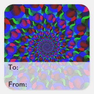 Blue Hippie Spiral Fractal Art Pattern Square Sticker