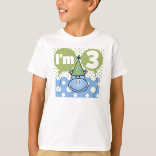 Blue Hippo 3rd Birthday T Shirt